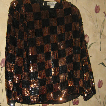 stunning 80s gold and black checker sequin pure silk disco cocktail shirt   sz med