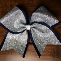 Cheer Bow - Silver Glitter on Navy