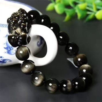 Natural Gold Obsidian Stone Jades Bracelet Carved Pixiu Round Beads Bracelet Bangles Gift for Men Women's Stone Jades Jewelry