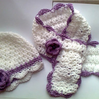 White and Lilac Baby Hat -Scarf set, Baby clothes, Infant hat, newborn hat, baby beanie, Baby Clothes