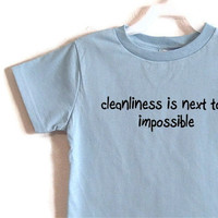 Size 4-5 Cleanliness is Next to...  Light Blue Screenprinted Children's T-shirt Black Ink