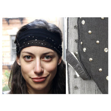 Vintage 90s Anna Sui Studded Head Scarf Black Sheer Boho Festival Headpiece Rhinestone Headband Bohemian Hair Wrap