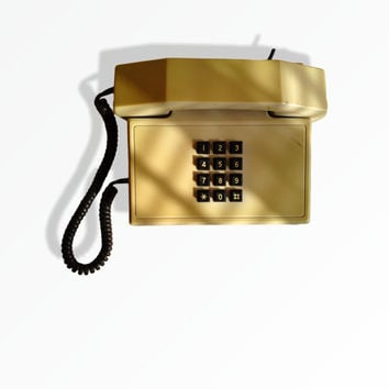 Vintage telephone 80s white button collectibles telephone rustic home decor bell made in Europe button dial telephone vintage trends