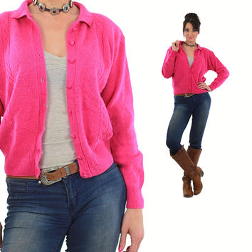 Pink Cardigan Sweater 80s Grandpa Button up Angora Grunge Slouchy Hipster 1980s Oversize Mohair Nerd Plain Medium