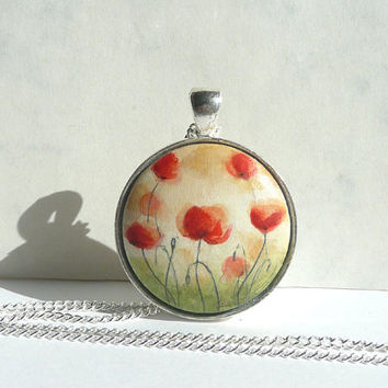 Small Original Painting Necklace, Hand painted Poppies Necklace,  Red Poppies Charm, Fine Art  European Jewelry from Germany by Artdora