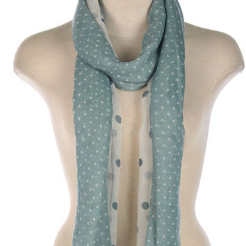 Light Blue Scarf with White Polka Dots