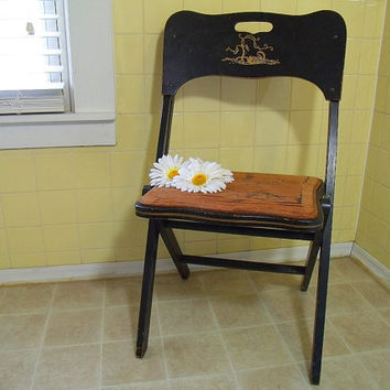 Antique Black Lacquer Wooden Folding Chair for Parlor Game Table - Vintage Furniture from the Carrom Company - Gold Ornate Hand Painted Trim