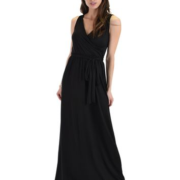 Lyss Loo All Mine Sleeveless Crossover Black Wrap Maxi Dress