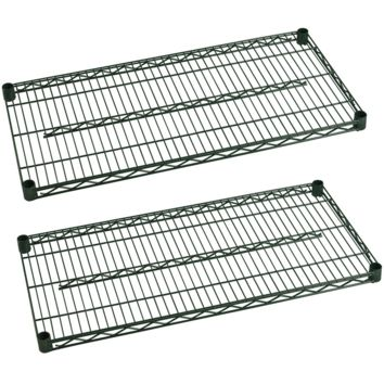 "Commercial Heavy Duty Walk-In Box Green Epoxy Wire Shelves 14"" x 48"" (Pack of 2)"