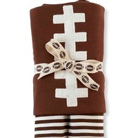 Mud Pie Cotton Football Brown Receiving Baby Boy Blanket Size: 28″ x 34″