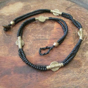 Beaded Bohemian Black Necklace, Ethnic Earthy Women Jewelry