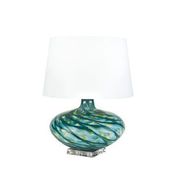 Blue Swirl Glass Table Lamp with White Linen Shade