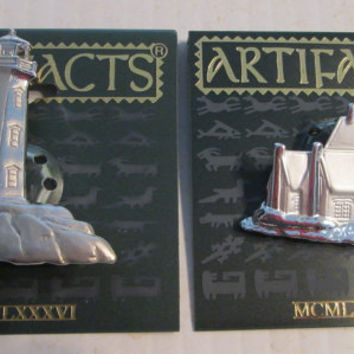 Lighthouse Cape Cod JJ Vintage Jonette Jewelry pin brooch. Signed collectible  Artifacts 1986 unique gift under 20 silver pewter