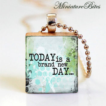 Inspirational Words Quote Today New Day Green Blue Wooden Scrabble Tile Pendane Resin Necklace Purple Gift Under 10 Free Domestic Shipping