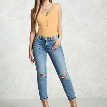 Ribbed Henley Bodysuit