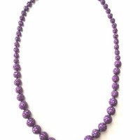 Kenneth Jay Lane KJL Violet Purple Pave Bubble Bead Sparkling Beaded Necklace