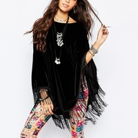 Rokoko Velvet Poncho Top With Tassel Hem