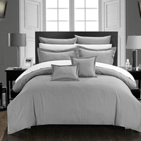 Chic Home 11 Piece Kanya Down Alternative Jacquard Striped Comforter Set, Bedding Basics, Full/Queen, Silver  with 4 Piece White Sheet Set