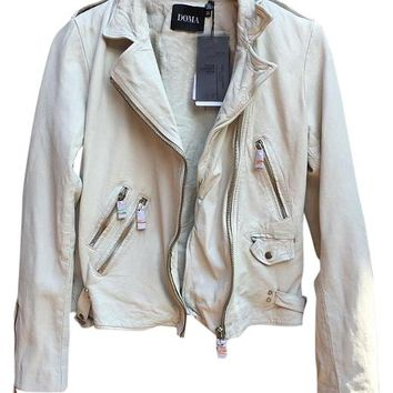 DOMA White Quilted Leather Motorcycle Moto Zipper M Medium Beige Leather Jacket 40% off retail