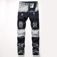 Zippers Decoration Stretch Pants Ripped Holes Men's Fashion Jeans [3444984152157]