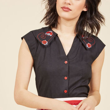 Lucky in Ladybugs Button-Up Top