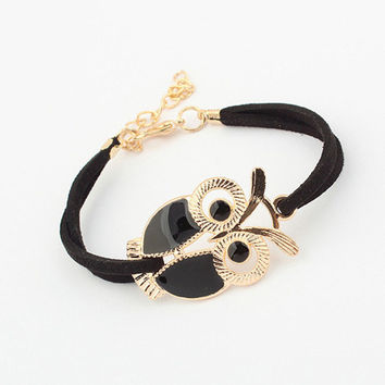 2016 Korean Fashion Handmade Womens Girls Vintage Owl Decoration Faux Bangles Braided Rope Wristband Leather Bracelet Adjustable