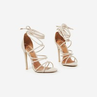 Antonia Knotted Lace Up Heel In Nude Faux Suede