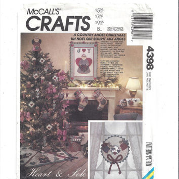 McCall's 4398 Crafts Pattern for Country Angel Christmas, Heart & Sole, 1980s, FACTORY FOLDED, UNCUT, Stockings, Vintage Pattern, Home Sew