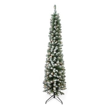 "6' x 20"" Pre-Lit Flocked Traditional Green Pine Pencil Artificial Christmas Tree - Clear Lights"