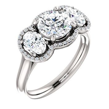 1.25 Ct Round Diamond Engagement 3 Stone Ring 14k White Gold
