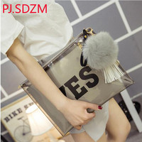 PJ.SDZM New Street Star Style Women Double Face Print Fashion Handbag Yes Or No Day Clutch Envelope Transparent Jelly Bag Clear