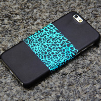 Turquoise Leopard iPhone 6 iPhone 6 plus iPhone 5S 5 iPhone 5C iPhone 4S/4 Black Samsung Galaxy S6 edge S6 S5 S4 Note 3 Case Animal Print-09