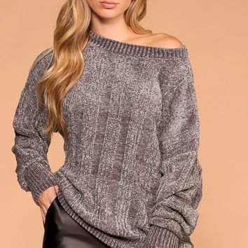 Fawna Silver Chenille Knit Sweater