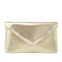 Chain Strap Metallic Envelope Clutch by Charlotte Russe - Gold