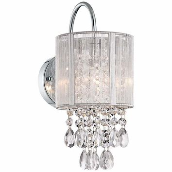"Possini Euro Silver Line 12""H Chrome and Crystal Sconce - #Y7690 