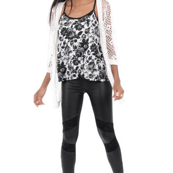 Black Leather Look Leggings with Lace Insert