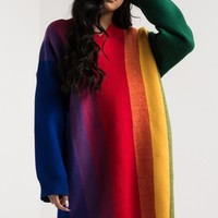 AKIRA Long Sleeve V Neck Loose Fit Heavy Knit Rainbow Stripe Sweater in Multi