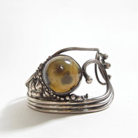 Vintage Cuff Bracelet . Sterling Silver and Tiger's Eye Scrolling Cuff . Naturalist Good Luck Charm
