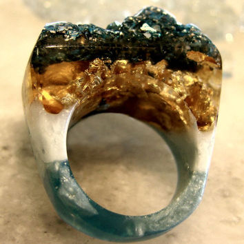 Agate Druzy Rings, AquaGold Druzy Resin Rings, CUSTOM Blue Resin Rings, Gold Rings, Resin Rings, Blue Agate Rings, Trending, ResinHeavenUSA
