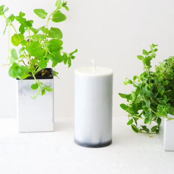 Light gray candles, soy pillar candles, unscented candles, ecofriendly candles, home décor, unisex gift idea, best sellers candles