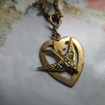 Vintage 30s 40s Swallow Heart Necklace