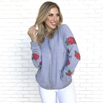 Rose Embroider Zip Up Sweater