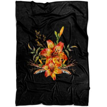 Tiger Lily Bouquet v2 - Fleece Blanket