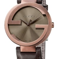 Gucci Interlocking G Brown Dial Brown Leather Mens Watch YA133207