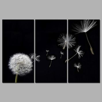 Dandelion Flower Flying Black And White Decoration Canvas Paintings Print Wall Art Pictures For Living Room Home Decor Unframed