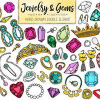 Doodle Gems, Jewelry Clipart. Hand Drawn Gemstone, Jewellery, Emerald, Diamond Clip Art. Crown, Tiara, Wedding Ring, Locket Necklace Earring