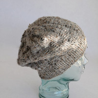 Knit Slouchy Beanie - Adult or Teen - Tan/Grey Multi Colored Hat