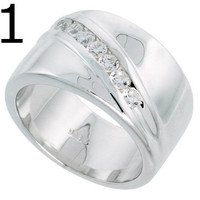 Sterling Silver Men's Ring Cut Cubic Zirconia