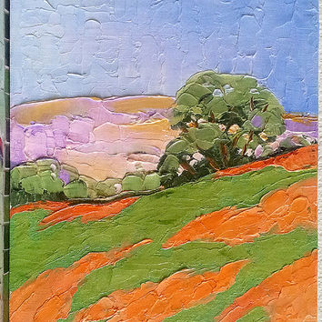 Impressionist Painting CALIFORNIA Plein Air Art Landscape POPPIES 11x14 Lynne French Free Shipping