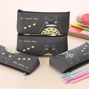 Cute Totoro School Pencil case for My Neighbor PU Leather Pencil Bag Stationery Pouch Bag for kids office school supplies 2.24